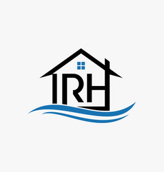 letter rh home water business creative logo design vector image