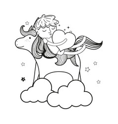 line sleeping boy with heart and unicorn in the vector image