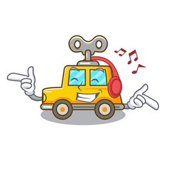 Listening music cartoon clockwork toy car for gift vector
