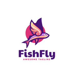 Logo fish fly simple mascot style vector
