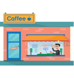 man in a summer cafe vector image