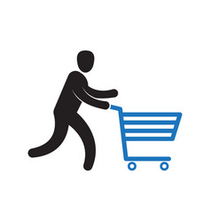 Man pushing shopping cart vector