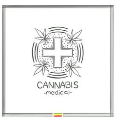 Medical marijuana logo black six vector