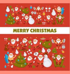 merry christmas santa cartoon snowman and dog vector image