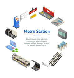 metro station 3d banner card circle isometric view vector image