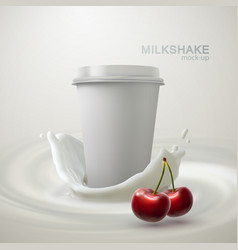 Milkshake paper cup and creamy splash vector