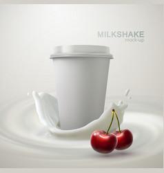 Milkshake paper cup and creamy splash vector