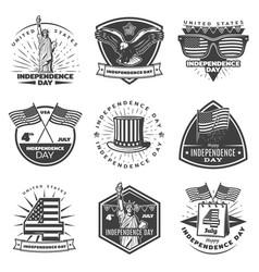 monochrome vintage independence day labels set vector image