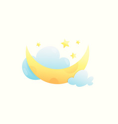 Moon stars and clouds cute and sweet baby design vector