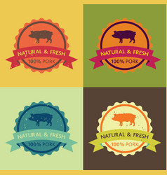 Natural fresh pork food set vector