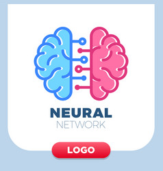 Neural networks human brain logo icon chip or vector