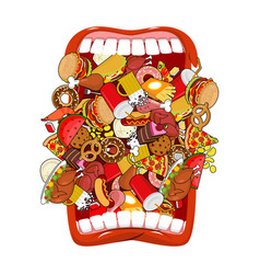 open mouth and food absorption of feed eat many vector image