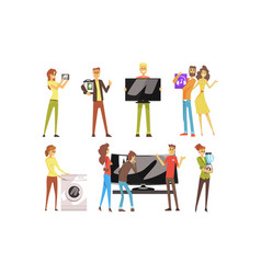 People shopping for household appliances set vector