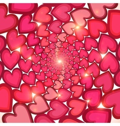Pink hearts circles shining background vector image
