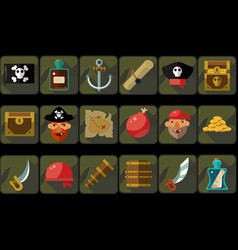 pirate icons set ancient travel and adventure vector image