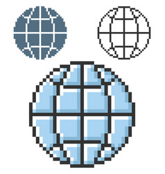 pixel icon globe in three variants fully vector image