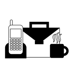 Portfolio briefcase with cellphone and cup coffee vector