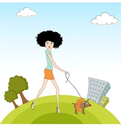 pretty young lady with her dog dressed vector image