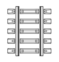 Railway detailed track silhouette top view rails vector