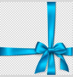 Realistic blue bow and ribbon vector