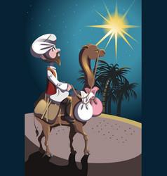 riding camel in desert vector image