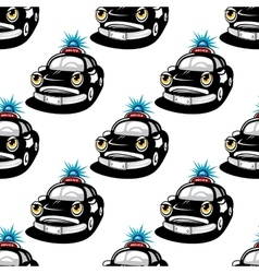 Seamless pattern with police car characters vector