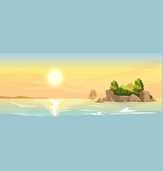 seascape with a small island vector image