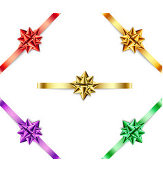 set multi-colored bows with ribbons on white vector image