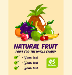 set of fresh fruits calories and useful vector image