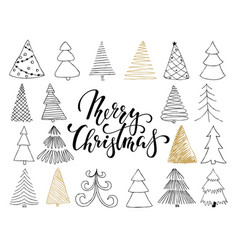 Set of hand drawn sketch christmas tree design vector