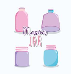 set of mason jar drawings vector image