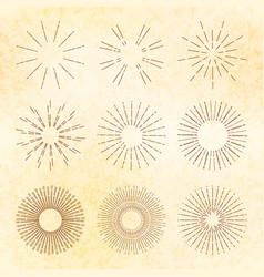 set retro hand-drawn starburst and sunrays vector image