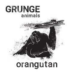 Silhouette orangutan in grunge design style animal vector