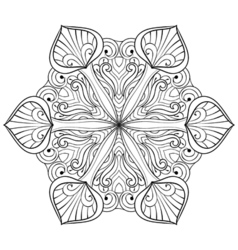 snow flake in zentangle doodle style mandala for vector image
