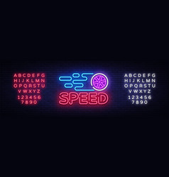 Speed night neon logo racing neon sign vector