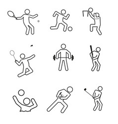 Sport figure outline symbol graphic set vector