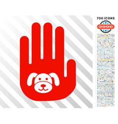 Stop hand puppy flat icon with bonus vector