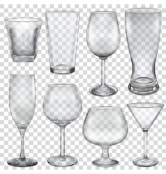 Transparent empty glasses vector image