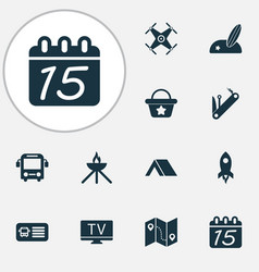 Travel icons set with rocket grill map with vector