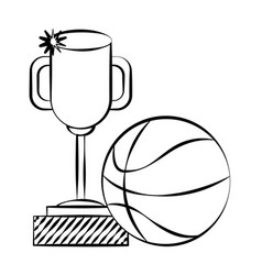 trophy award basketball ball doodle vector image