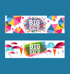 umbrella open and closed set banners vector image