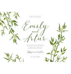 Wedding floral invite save the date rustic design vector