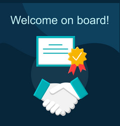 Welcome on board flat concept icon vector