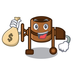 with money bag concrete mixer character cartoon vector image
