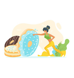 woman beats unhealthy doughnuts vector image