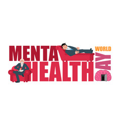 World mental health day lettering and vector