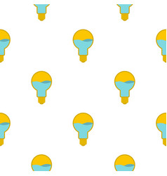 Yellow light bulb with blue water inside pattern vector