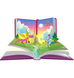Books about young knight and two dragons vector image vector image