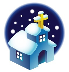 chapel in the snow vector image vector image
