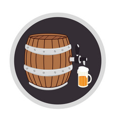 color circular frame with beer barrel and glass vector image vector image